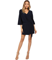 Halston Heritage - Overlay and Ties V-Neck Dress