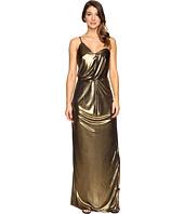 Halston Heritage - Asymmetrical Strap Metallic Jersey Gown