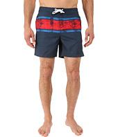 Original Penguin - Engineered Stripe Faux Slub Print Fixed Volley Swim Shorts
