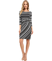 Tahari by ASL - Faux-Wrap 3/4 Sleeve Printed Jersey Dress