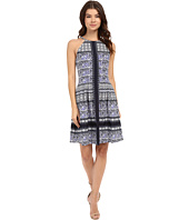 Vince Camuto - Printed Scuba Halter Fit and Flare with Release Pleats