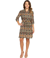 Tahari by ASL Petite - Petite Aztec Printed Shirtdress