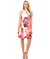 Vince Camuto - Printed Cotton Sateen Sleeveless Fit and Flare w/ Release Pleats