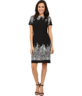 Adrianna Papell - Animal and Lace Printed Blocked Sheath Dress