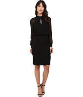 Adrianna Papell - Slit Blouson Dress w/ Bishop Sleeve