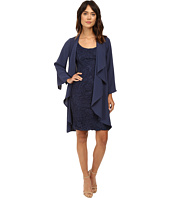 Adrianna Papell - Draped Jacket w/ Scoop Lace Dress