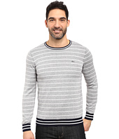 Lacoste - Long Sleeve Double Face Chine Stripe Crew Neck Sweater