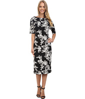 Vince Camuto - Short Sleeve Delicate Foliage Scuba Midi Dress