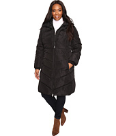 Jessica Simpson - Plus Size Chevron Quilted Poly Down Coat with Hood