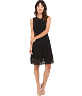 Tahari by ASL - Fit and Flare Dress w/ Sheer Stripe Trim