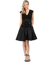 Adrianna Papell - Taffeta Fit and Flare V-Neck Dress