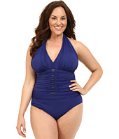 Bleu Rod Beattie - Plus Size Jet Set Go Plunge Halter One-Piece
