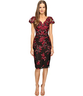 Marchesa Notte - Threadwork Embroidered Sheath Dress with Cap Sleeves