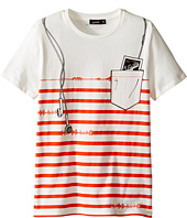 Junior Gaultier - Striped Short Sleeve Tee Shirt with ipod Print (Big Kids)