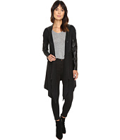 Blank NYC - Hooded Vegan Leather and Wool Sweater in Party Monster