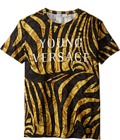 Versace Kids - Short Sleeve Logo and Zebra Print Tee (Big Kids)