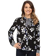 NYDJ Petite - Petite Printed Long Sleeve Tie Neck Blouse