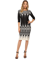 Christin Michaels - Elodey Chevron Border Bodycon Midi Dress