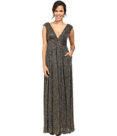 Aidan Mattox - Sleeveless Metallic Lurex Long V-Neck Gown