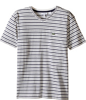 Lacoste Kids - Short Sleeve V-Neck Striped Tee Shirt (Toddler/Little Kids/Big Kids)