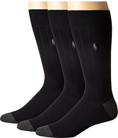 Polo Ralph Lauren - 3-Pack Rib Crew with Contrast Heel/Toe and Polo Player Embroidery