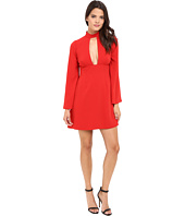 JILL JILL STUART - Short Crepe Dress with Long Sleeves and Deep V
