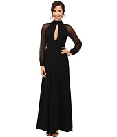 JILL JILL STUART - Crepe/Chiffon Gown with Long Sleeves and Keyhole