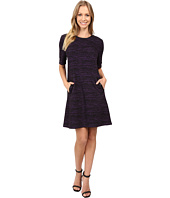 Donna Morgan - A-Line Shift Dress with Faux Leather