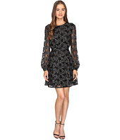 Just Cavalli - Long Sleeve Sheer w/ Lining Embroidered Dress