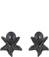Oscar de la Renta - Pave Sea Star Pearl Button P Earrings