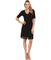Karen Kane - Pencil Sleeve V-Neck Fringe Dress