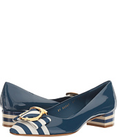 Salvatore Ferragamo - Striped Patent Leather Low-Heel Pump