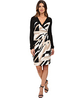 Laundry by Shelli Segal - Printed Matte Jersey Faux Wrap Dress with Mesh Detail
