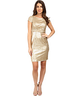 Adrianna Papell - Short Sleeve Draped All Over Sequin Cocktail Dress