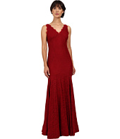 Adrianna Papell - Sleeveless V-Neck Lace Trumpet Gown