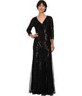 Adrianna Papell - 3/4 Sleeve Beaded Wrap Front Gown