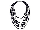 Tube and Jump Ring Detail Multi Grosgrain Fabric Statement Necklace