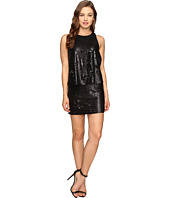 Halston Heritage - Sleeveless Round Neck Sequined Dress