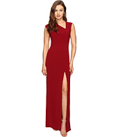 Halston Heritage - Cap Sleeve Asymmetrical V-Neck Crepe Gown w/ Slit