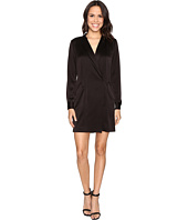 Halston Heritage - Long Sleeve Satin Shirtdress
