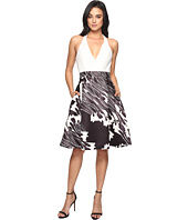 Halston Heritage - Sleeveless Halter Neck Print Blocked Dress
