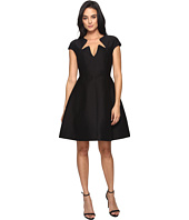 Halston Heritage - Cap Sleeve Notched Neck Silk Faille Dress