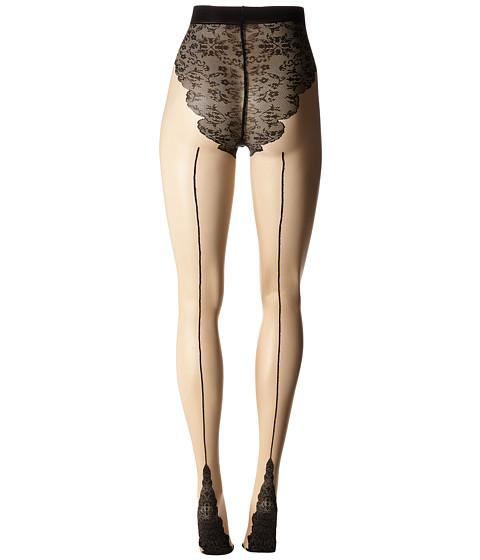 Seamed Stockings, Nylons, Tights Pretty Polly - Flirty Backseam Tights NudeBlack Hose $30.00 AT vintagedancer.com