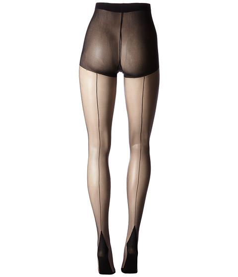 Seamed Stockings, Nylons, Tights Pretty Polly - Nylons 10 Denier Backseam Gloss Tights Black Hose $15.00 AT vintagedancer.com