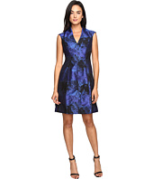 Maggy London - Shadow Abstract Deep V-Neck Fit and Flare