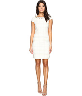 Vince Camuto - Short Sleeve A-Line Shift Dress with Beaded Neckline