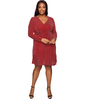 MICHAEL Michael Kors - Plus Size Long Sleeve Wrap Flounce Dress