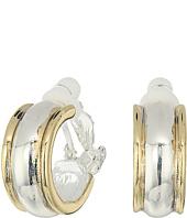 LAUREN Ralph Lauren - Back to Basics II Two-Tone Wedding Band Clip Hoop Earrings