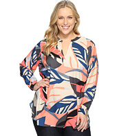 Vince Camuto Specialty Size - Plus Size Long Sleeve Modern Tropics V-Neck Tunic