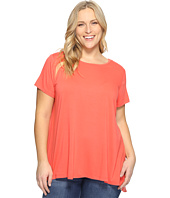 Vince Camuto Specialty Size - Plus Size Short Sleeve High-Low Hem Mix Media Top